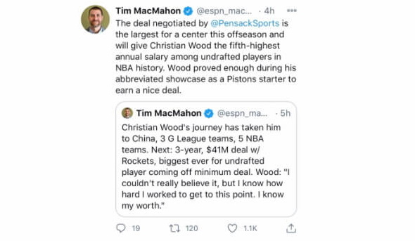 Tweet by ESPN's Tim MacMahon